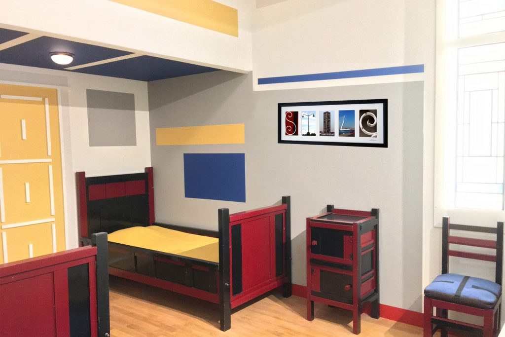 Home Interior Design in Piet Mondrian Style